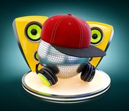 Mirror ball with cap and headphones Royalty Free Stock Photo