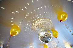 Mirror ball on the ceiling wedding banquet hall Royalty Free Stock Photography