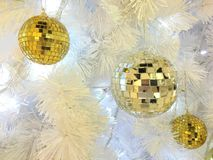 Mirror ball in christmas fastival. Silver and gold mirror ball decoration in christmas fastival Royalty Free Stock Photos