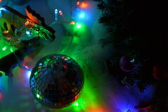 Mirror ball and Christmas lights Royalty Free Stock Photography