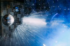 Mirror ball disco with blue light smoke. Mirror ball in the disco with blue light and smoke stock illustration