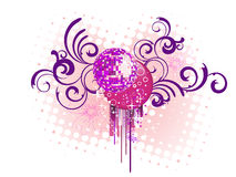Mirror ball on floral background Royalty Free Stock Images