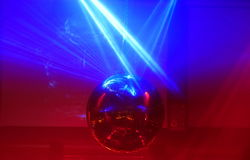 Mirror ball. Lights disco background Royalty Free Stock Image