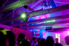 Mirror ball rolling in the night club Royalty Free Stock Image
