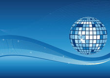 Mirror ball and waves background. Mirror ball and waves on blue background Royalty Free Stock Images
