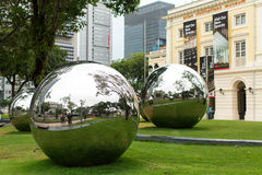Mirror Balls in Empress Place in front of Asian Civilizations Museum. Royalty Free Stock Photos