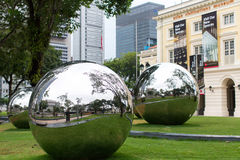 Mirror Balls in Empress Place in front of Asian Civilizations Museum. Stock Photos