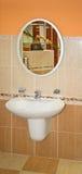 Mirror in bathroom stock image