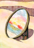 Mirror on the beach. Reflect the sea at sunset Royalty Free Stock Photo