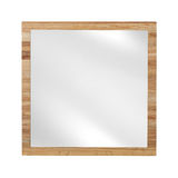 Mirror in beach wooden frame - isolated on white Stock Image