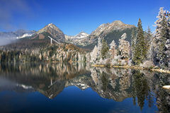 Mirror in a beautiful lake in the High Tatras. Strbske Pleso is nice lake in High Tatra - Slovakia stock photography