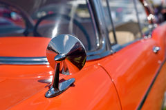 A mirror in a beautiful original old car. Retro. Stock Photo