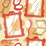 Mirror beauty objects pattern Stock Photography