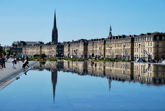 Mirror in Bordeaux. Tourism in Bordeaux in France royalty free stock photos