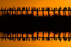 The mirror bridge teak U bein. Burma. Mandalay Myanmar Royalty Free Stock Image