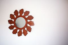 Mirror With Brown Wooden Frame stock photo