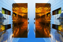 Mirror buildings stock images