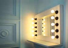 Mirror with bulbs for make up Stock Photo