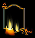 Mirror and candle. Mirror and burning candle on black background Royalty Free Stock Photos
