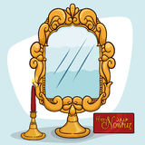 Mirror with a Candlelight and a Greeting Card for Nowruz, Vector Illustration. Golden mirror with stand and lit candles symbolizing honesty, cleanliness Stock Photos