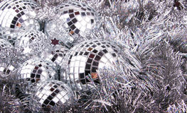 Mirror Christmas Balls on silver Royalty Free Stock Photo