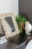 Mirror in classic frame style on dressing table Stock Photography