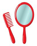 Mirror and comb Stock Image