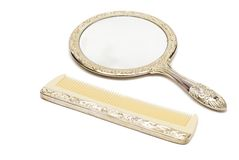 Mirror and Comb Set Royalty Free Stock Photography