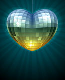 Mirror disco ball in the shape of heart Royalty Free Stock Images