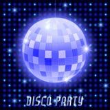 Mirror disco ball on shining retro background Stock Image