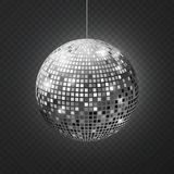 Mirror disco ball. Soffit reflection ball mirrored disco party silver glitter equipment retro rays shining mirrorball stock illustration