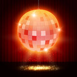 Mirror disco ball on stage curtain Royalty Free Stock Images
