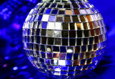Mirror Disco globe - isolated on blue Stock Photography