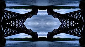Mirror effect on the Quebec Bridge royalty free stock photography
