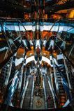 Mirror Escalators Bonanza at Shopping Mall in Sydney. Sydney, AUSTRALIA - November 2, 2017: Dynamic and almost abstract interior of the new Westfield City Mall Stock Photography