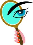 Mirror with eye Stock Photography