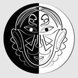 Mirror face in white and black, iconic mask, avatar. Mirror face in circle in white and black, iconic mask, avatar royalty free illustration