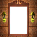 Mirror frame on the wall. Frame on the wall with lamps Stock Photography
