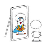 The mirror and funky supergirl Stock Photography