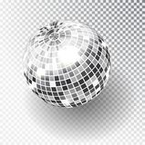 Mirror glitter disco ball vector illustration. Night Club party light element. Bright mirror silver ball design for disco dance cl. Ub. Vector vector illustration
