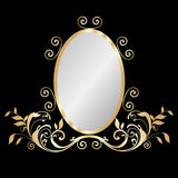 Mirror gold frame. With floral ornaments vector eps10 Stock Images