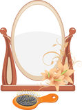Mirror and hairbrush isolated on the white Stock Image