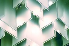 Mirror hanging, trim and reflection. Abstract glass background. Texture. Abstract white geometric hexagonal background royalty free stock photography