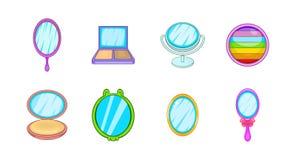 Mirror icon set, cartoon style. Mirror icon set. Cartoon set of mirror vector icons for your web design isolated on white background Royalty Free Stock Photo