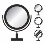 Mirror icon set. A piece of special flat glass that a person can look into to see a reflection of themselves or what is behind them royalty free illustration