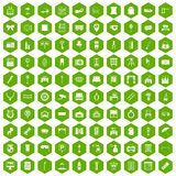 100 mirror icons hexagon green. 100 mirror icons set in green hexagon isolated vector illustration royalty free illustration