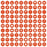 100 mirror icons hexagon orange. 100 mirror icons set in orange hexagon isolated vector illustration stock illustration
