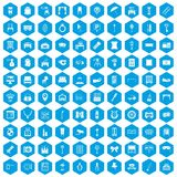 100 mirror icons set blue. 100 mirror icons set in blue hexagon isolated vector illustration Royalty Free Illustration