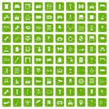 100 mirror icons set grunge green. 100 mirror icons set in grunge style green color isolated on white background vector illustration Royalty Free Illustration