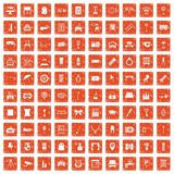 100 mirror icons set grunge orange. 100 mirror icons set in grunge style orange color isolated on white background vector illustration vector illustration